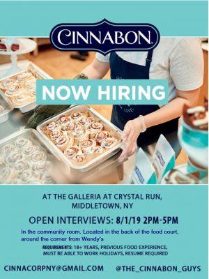 cinnabon now hiring